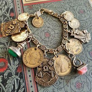 Vintage chunky coin charm bracelet gold tone fob
